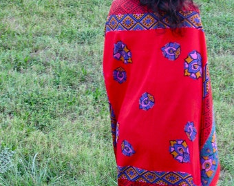 Vintage 1980s RED and Rainbow PRINT Extra LArge Scarf Wrap