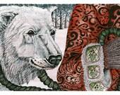 Polar Bear illustration Print 8x11 pen and ink drawing