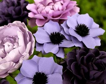 50 Shades Of Purple - MIX Flowers - Handmade Paper Flowers -Set of 12 - On stems - Made to Order - Customize your style and colors
