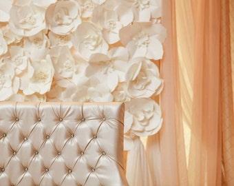 Extra large Paper Flower Backdrop - white - Custom Order
