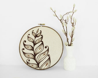 "Embroidery Art Botanical Leaf Fiber Art. Embroidery Hoop Art of Brown and Tan Leaf Design in 7"" Hoop"