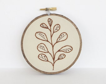 "Simple Botanical Hand Embroidery Art. Abstract Leaf Plant Fiber Art. Embroidery Hoop Art of Brown and Tan Plant Design in 4"" Hoop"