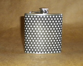 On Sale Black with Small White Stars Gift Flask 6 ounces KR2D 7129