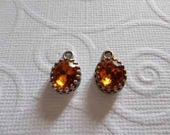 10X8mm Amber Topaz Charms - Czech Glass Gems - Your Choice Settings - Qty 2