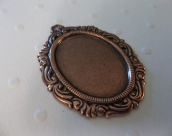 Vintage Inspired 25X18mm Antiqued Copper Swag Design Setting - Qty 2