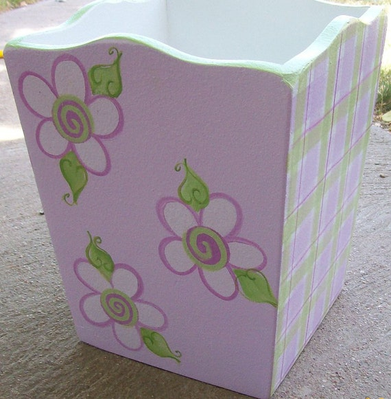 Items similar to custom wastebasket trash bin lavender for Purple bathroom bin
