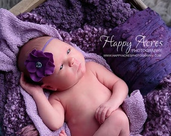 PURPLE Hydrangea headband, newborn photography prop,