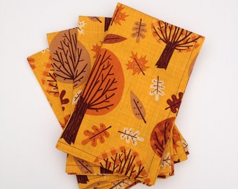 Orange & Brown Autumnal Trees Cloth Napkins- Set of 4