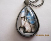 Siamese Cat with Butterfly Wings Necklace