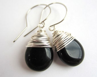 Black Earrings Dangle Earrings Wire Wrapped Earrings Black Drop Earrings Black Jewelry Czech Glass Earrings Wire Wrapped Jewelry Handmade