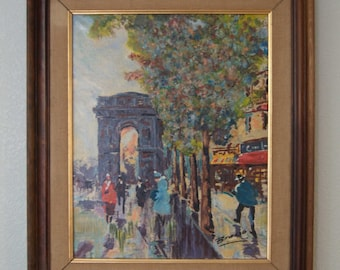 1960s-70s  Spanish Artist Brasso - Oil on Canvas - City Street Scene - Mid Century Impressionism -