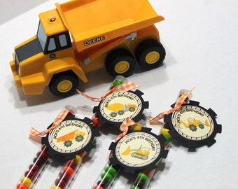 Construction party favors, treats (20) birthday party, dump truck birthday, baby shower, dig in birthday party