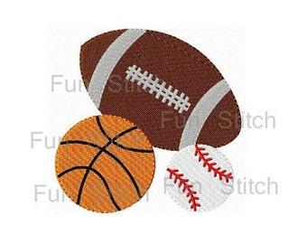 Sports balls machine embroidery design instant download