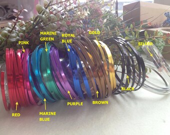 Free Shipping - 3 rolls package - Flat Aluminum Wire - 10 colors for choice - 2 meter per roll