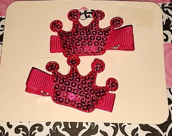 Hot Pink Crown Clips
