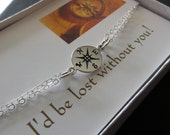 Compass bracelet, I'd be lost without you, friendship bracelet, 925 silver compass charm jewelry