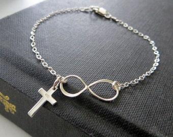 Infinity cross bracelet, Cross charm,  sterling silver dainty chain, Faith jewelry, spiritual religious jewelry