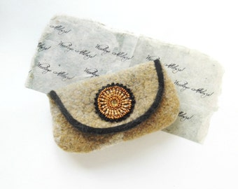 Wet Felted Clutch Purse , handmade, OOAK,  eco-friendly, Ready to Ship