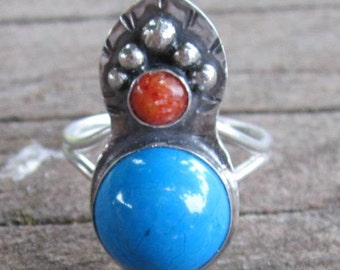 Native American Inspired Blue Howlite and Red Coral Sterling Silver Ring - Size 8