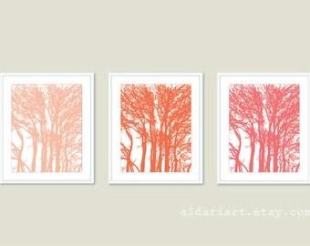 Tree Art Prints - Set of 3 Prints - Peach Coral Honeysuckle Pink - Modern Trees Wall Art - Nature Art - Tree Wall Art - Woodland Trees Print