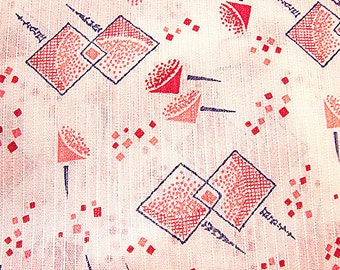 1960s Dimity Fabric Modernist  Novelty Print Stylized Snow Cones Vintage Sewing Fabric