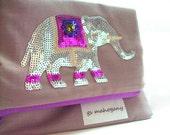 Clutch Purse Fold Over Bag Elephant - Organic Cotton Fabric - Birch Fabrics in Shroom - Neutral Khaki with Purples
