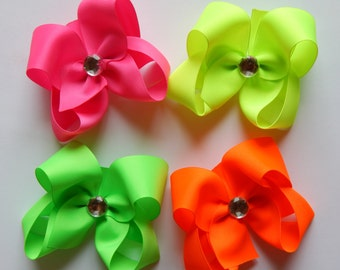 Neon, Neon hair bows, Neon boutique bows, set of 4 Neon Boutique Style Bows, 4 Inch Bows