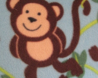 Blanket - Monkeys on Blue with Brown - This Blanket is Ready to Ship Now