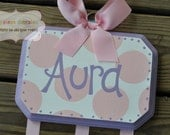 HairBow Holder --- SIMPLICITY Design - Handpainted and Personalized Bow Holder - Purple Pink Nursery