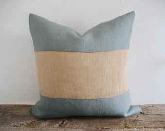 Blue Grey Burlap Pillow Cover Natural Stripe Color Block Zipper Display Both Sides