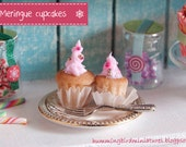 Christmas Cupcakes 'Meringue'  - 1/12 Scale Dollhouse Miniature