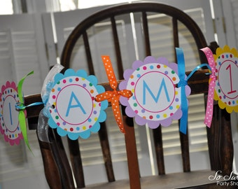 Highchair Banner - I am 1 Banner - 1st Birthday Banner - Colorful Polkadots - Birthday Party Decorations