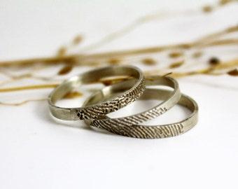 Custom silver fingerprint 3 stackable rings unique wedding ring set for men or women