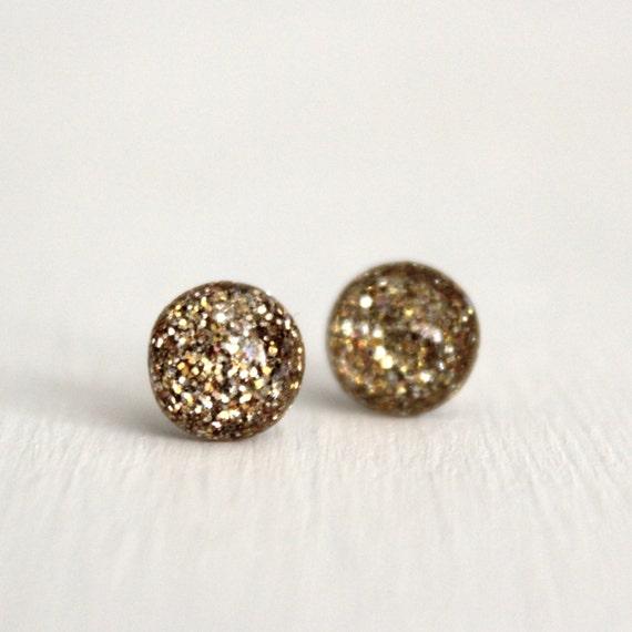 globe post earring in gold - 8mm - gold glitter post earrings - sterling silver post