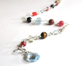 Simple Gemstone, with Pearls and Sterling Silver Bracelet