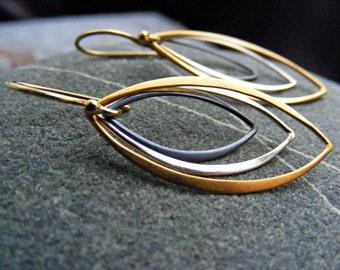 Mixed Metal Earrings, Silver Gold Black Dangle Earrings, Minimalist Jewelry, Marquis Earrings, Sterling Silver Earrings