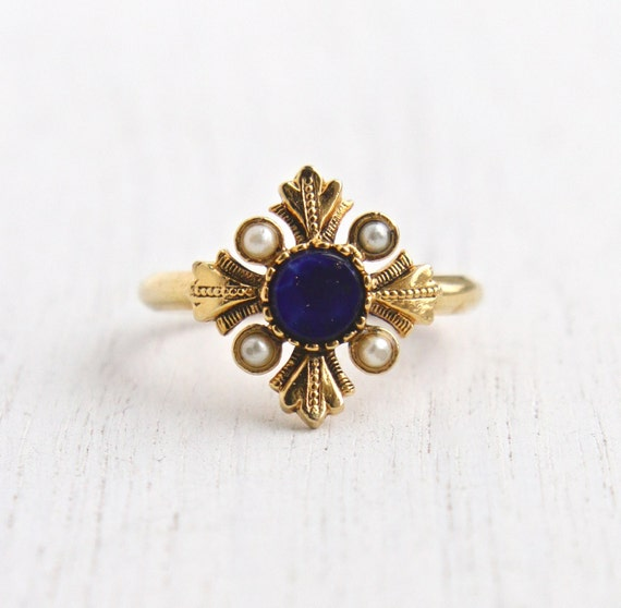 Vintage Faux Lapis Amp Pearl Ring Retro 1970s Gold Tone Signed