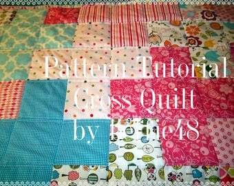 Cross, Plus Sign Quilt Pattern Tutorial, Baby or Lap Quilt Pattern, pdf.