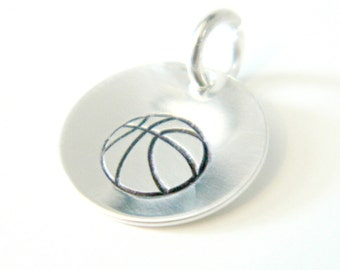 Basketball Charm Hand Stamped Personalized Silver Round: Sports