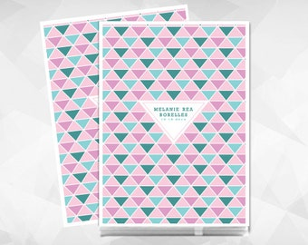 Modern Baby Memory Book with Triangles for Baby Girl. Each Baby Book comes Personalized