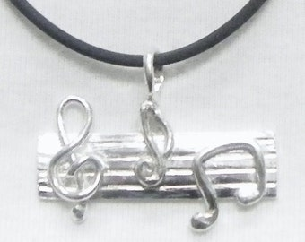 Silver Musical Notes, Music Pendant,  Musical Jewelry, Musical Bar Jewelry, Silver Music Notes