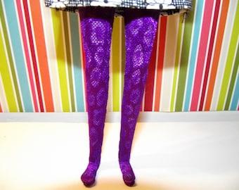 Dark purple with animal print design tights leggins for Pullip doll
