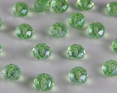 Glass Jewelry Beads - 8mm Faceted Rondelles, Spring Green Color, 1mm Hole Size, 20 Pieces
