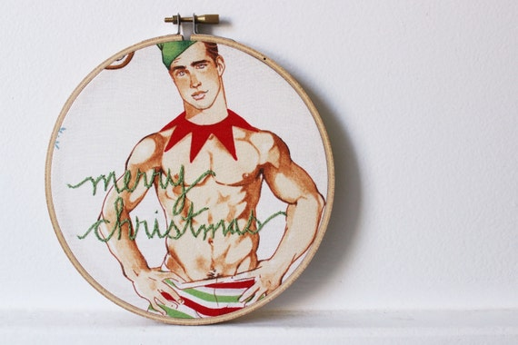 "Christmas Holiday Home Decor, Sign ""merry christmas"" Embroidery Hoop Art. Gifts for Her. Sexy Santa Man by merriweathercouncil"