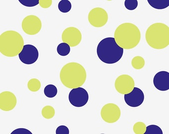 Polka Dot Wall Decals: 32 Dots, sizes 3, 4, 6 inches in 2 colors (shown in Navy Blue & Honeydew Green)