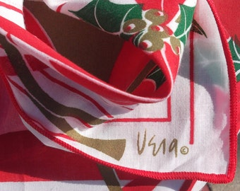 3 Vintage Vera Christmas napkins with Hunting Horn and Holly in Red Gold Green and White