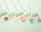 Gift Tag Set of 5, Washi Tape Gift Tags, Pastel Pink, Grey, Aqua  Washi Tape, Tags, Birthday Button Tags