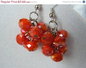 FINAL SALE Opaque Ruby Orange Crystal Glass Cluster Earrings