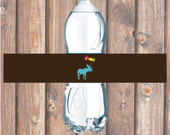Funky Moose Party Animal Printable Water Bottle Labels - INSTANT DOWNLOAD