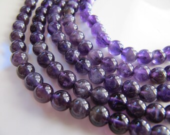 AMETHYST Stone Beads in Purple, Smooth Round Gemstones, 5mm to 6mm, Half Strand, 32-33 Beads